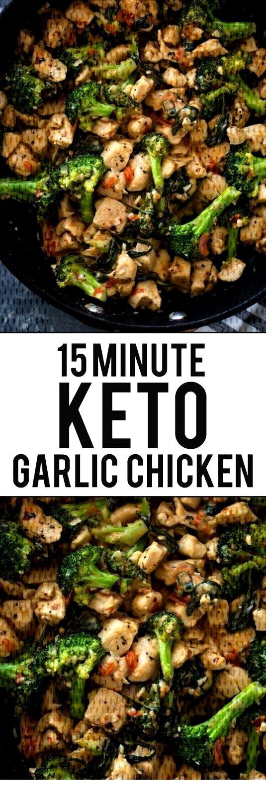 15 Minute Keto Garlic Chicken with Broccoli and Spinach | Keto Recipes | -