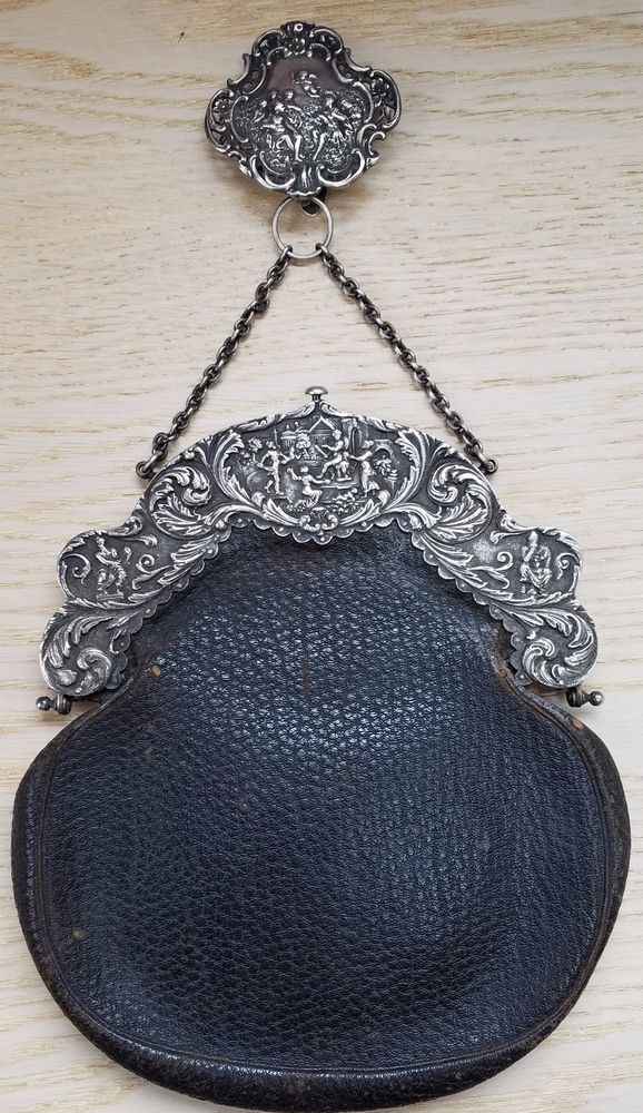 Estate Sterling Silver Leather Deitsch Bros. NY Repousse Purse w/ Hanger WOW! #DeitschBros #EveningBag