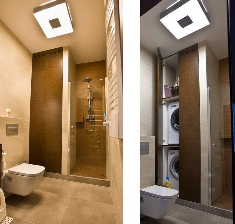 waschmaschine und trockner aufeinander im einbauschrank im bad, Hause ideen