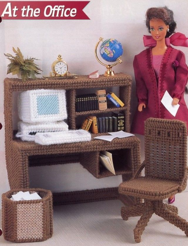 At the Office Desk Computer fits Barbie Doll Plastic Canvas Pattern Leaflet NEW