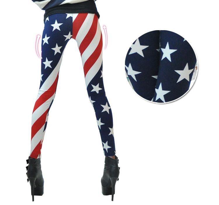 6b052ffd4c65 FS-1341 Fashion 2015 Autumn Hot sale American flag leggings With Print  Ninth pants for women Leggings