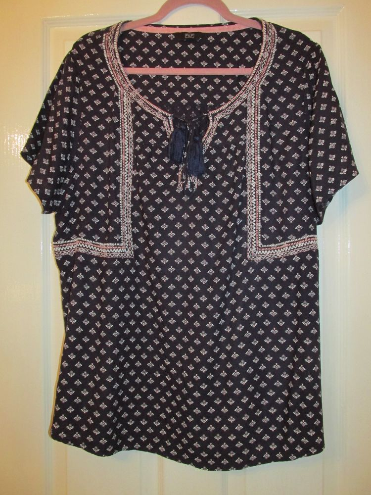fa7fc5be LADIES LONG NAVY BLUE/PINK SPOTTED PATTERN TUNIC TOP SIZE 20 #fashion # clothing #shoes #accessories #womensclothing #tops (ebay link)