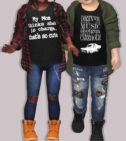 67b707986 Toddlers Unisex Plaid Accessory Shirt for The Sims 4