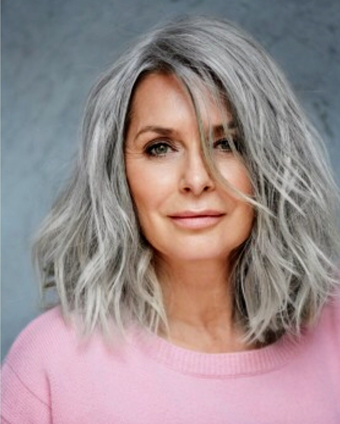 Young Salts Medium Silver Withbangs Natural Long Gray Hair Grey Hair Model Silver Grey Hair