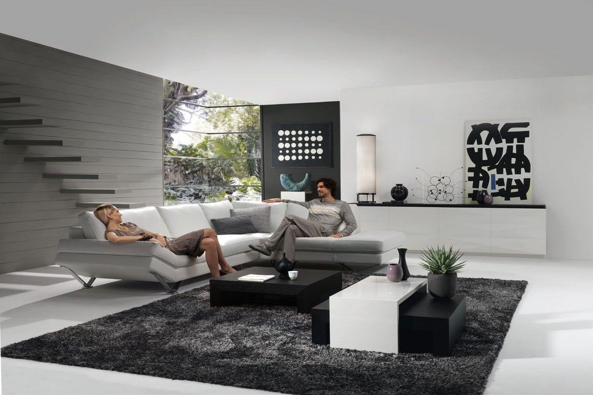 Contemporary Living Room In White And Grey Design Ideas 3 Living Room Living Room Grey