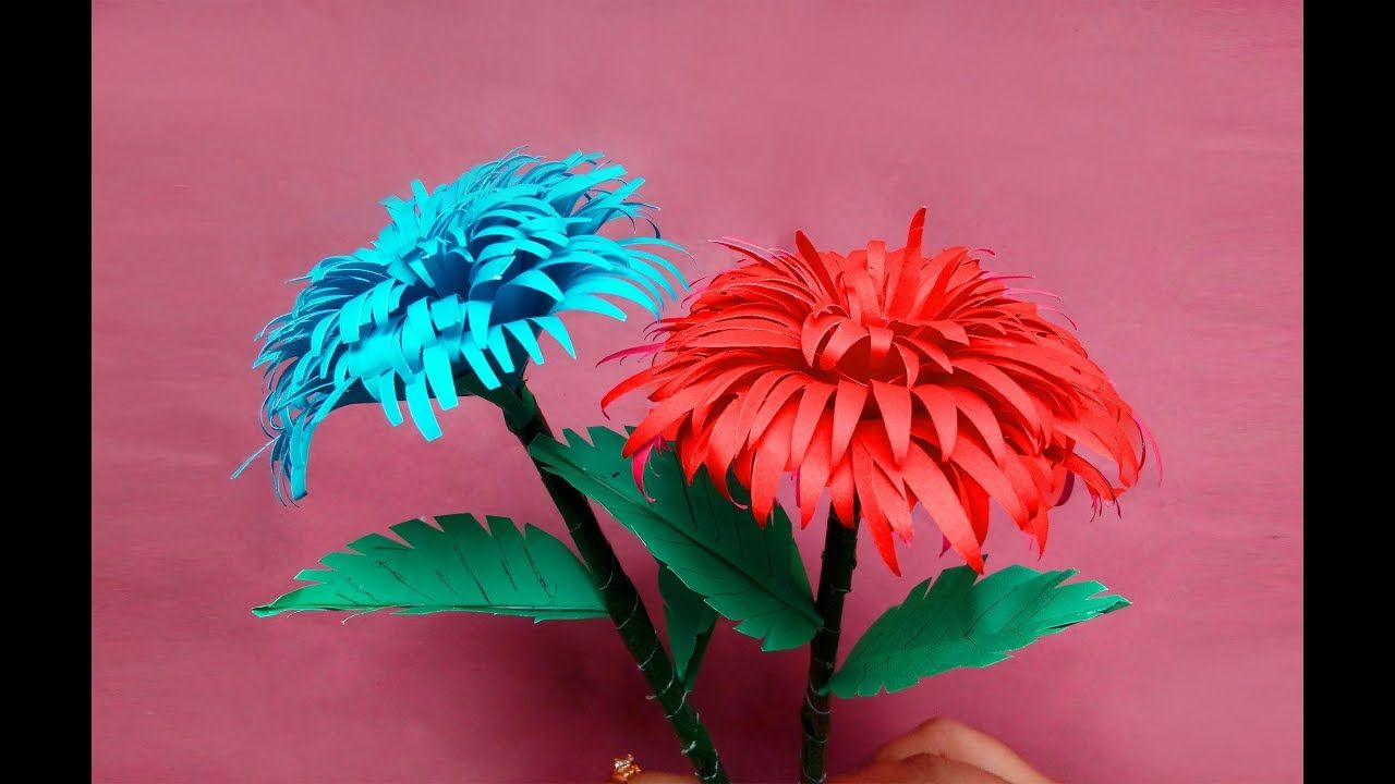 How To Make Paper Stick Flower Diy Hand Craft Ideas For