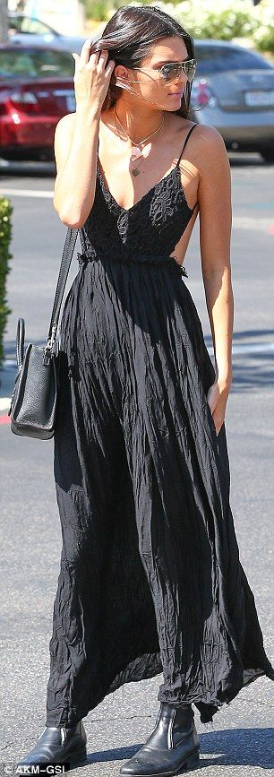 Kendall Jenner style www.winwithmtee.com Model looks: Kendall turned heads in this backless, black sundress...