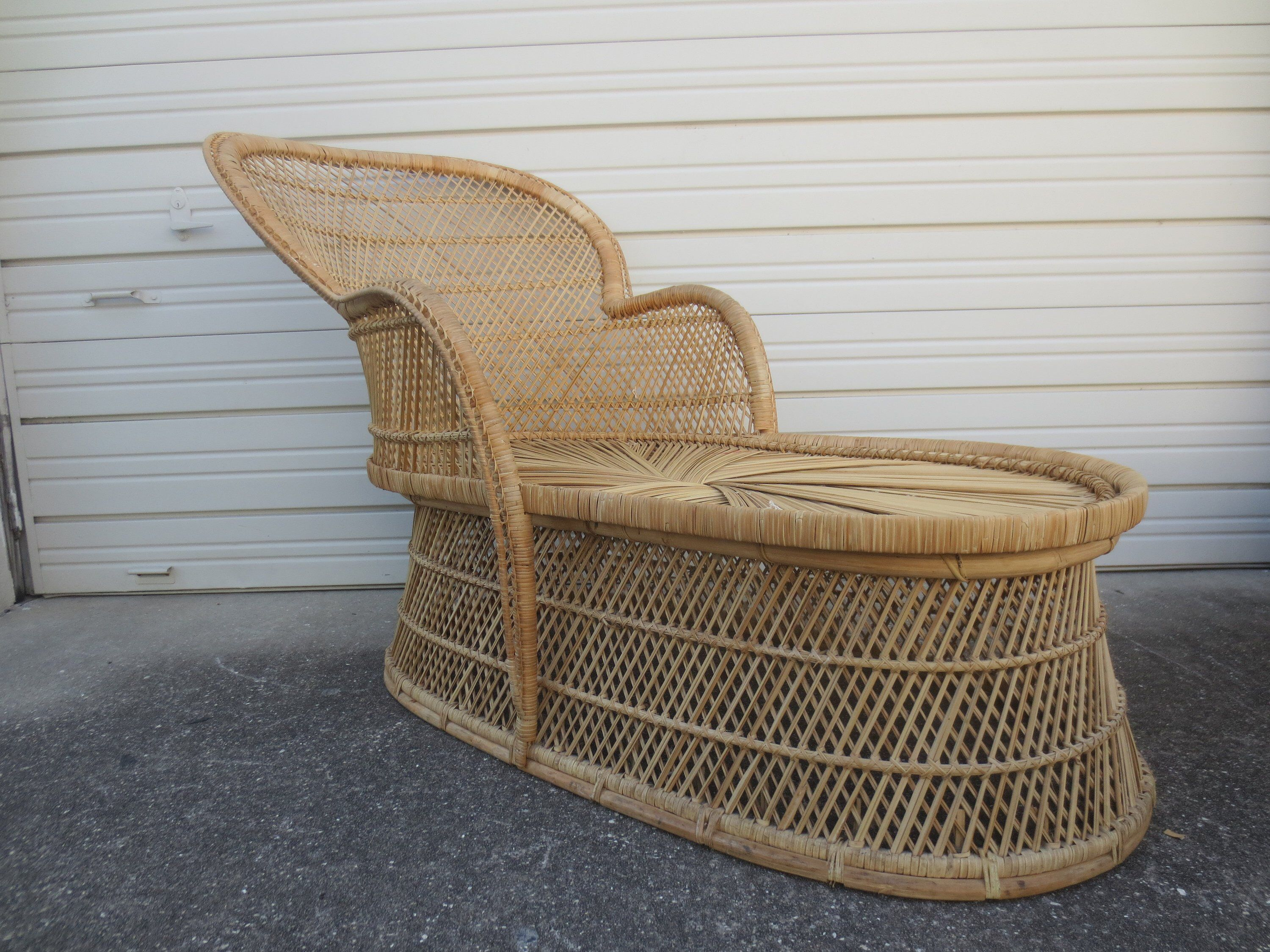 Wicker Peacock Chaise Lounge Chair Vintage Rattan Hollywood