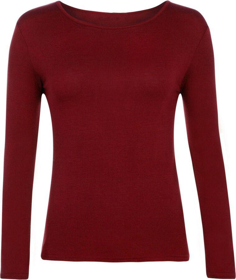 Womens Plain T shirt Ladies Long Sleeve Scoop Neck TShirt Top Plus Sizes 8-26 UK