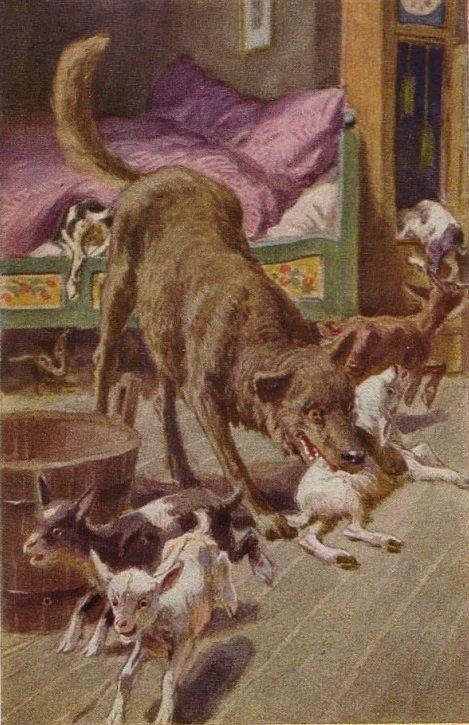 """""""der wolf und die sieben geißlein""""  illustration zu"""