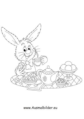 Osterhase Beim Osterfruhstuck Zum Ausmalen Ausmalbilder Malvorlagen Ostern Osterhase Kindergarten Ostere Osterhase Malen Osterhase Ausmalen