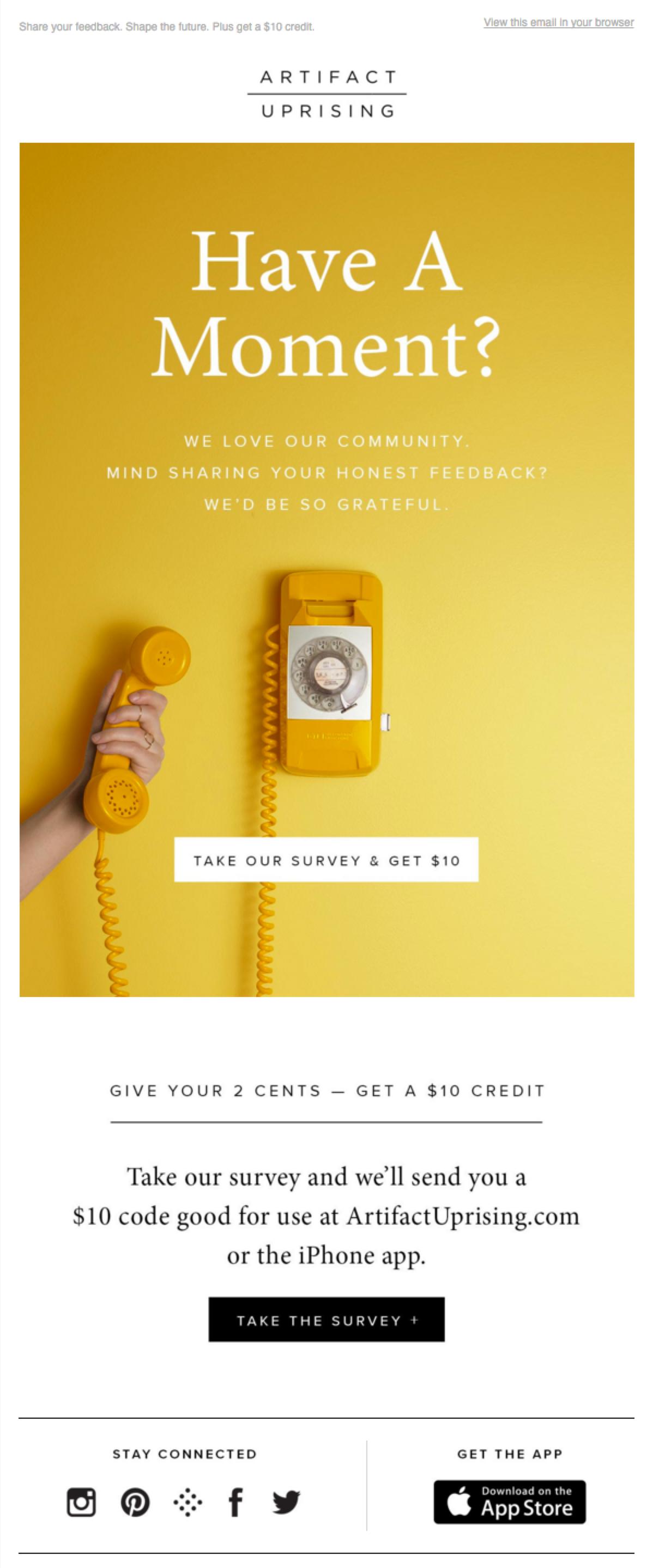 Artifact Uprising Customer Feedback Email Marketing Part 1