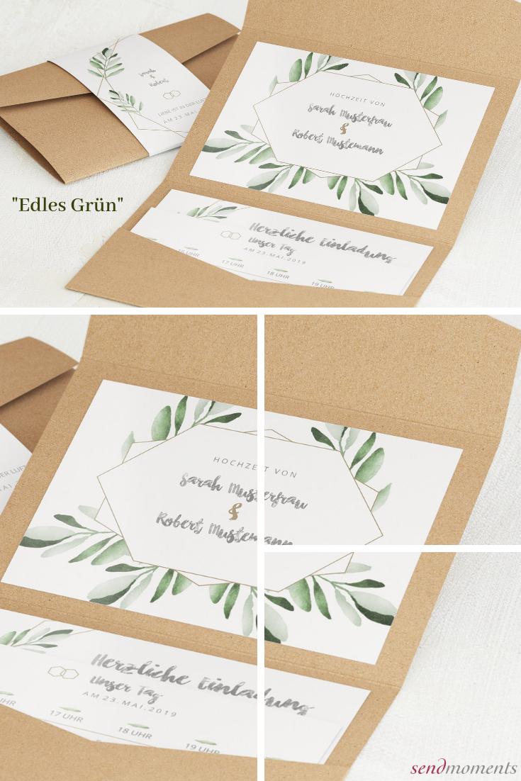 Hochzeitseinladungen Apfelgrün