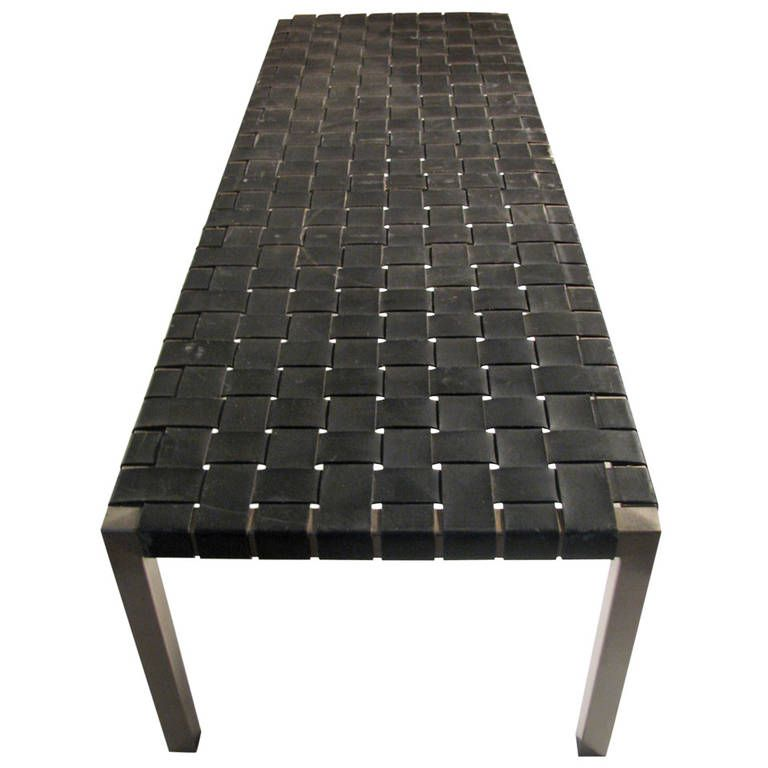 Ralph Lauren Woven Leather Bench or Cocktail Table