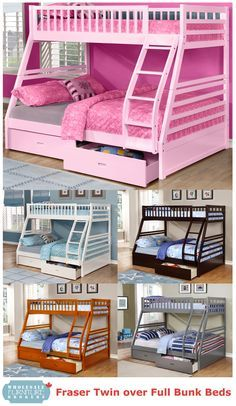 Fraser Iii Twin Single Over Full Double Bunk Beds With Solid