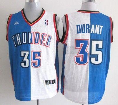 6ca7e3281d2d7 Oklahoma City Thunder #35 Kevin Durant Revolution 30 Swingman Blue/White  Two Tone Jersey