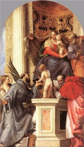 Madonna Enthroned with Saints - Paolo Veronese.  c.1562.  Oil on canvas.  341 x 193 cm.  Gallerie dell'Accademia, Venice, Italy.