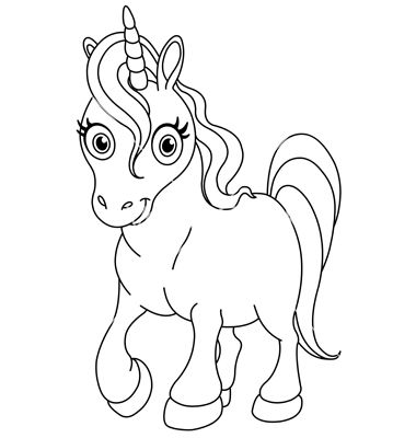 Good Outlined Cute Unicorn Vector