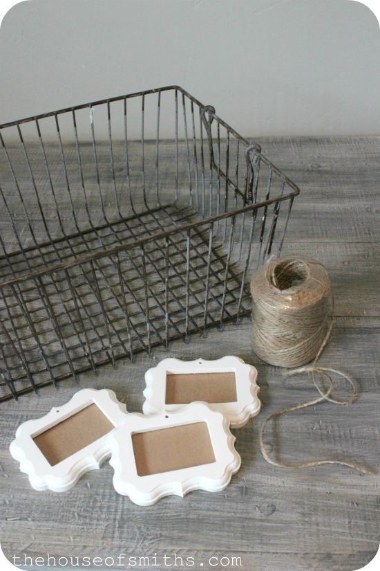 Decorative labels for wire basket storage