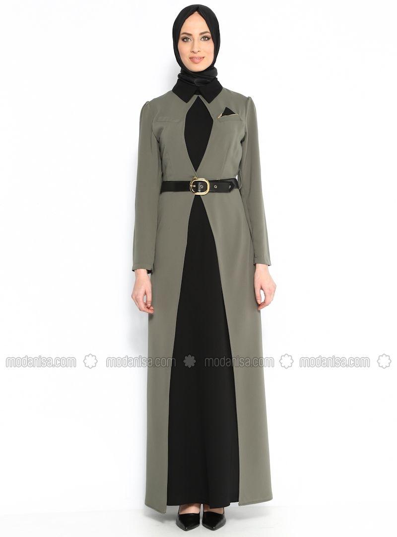 Mendil Yaka Elbise - Yeşil - N K Collection