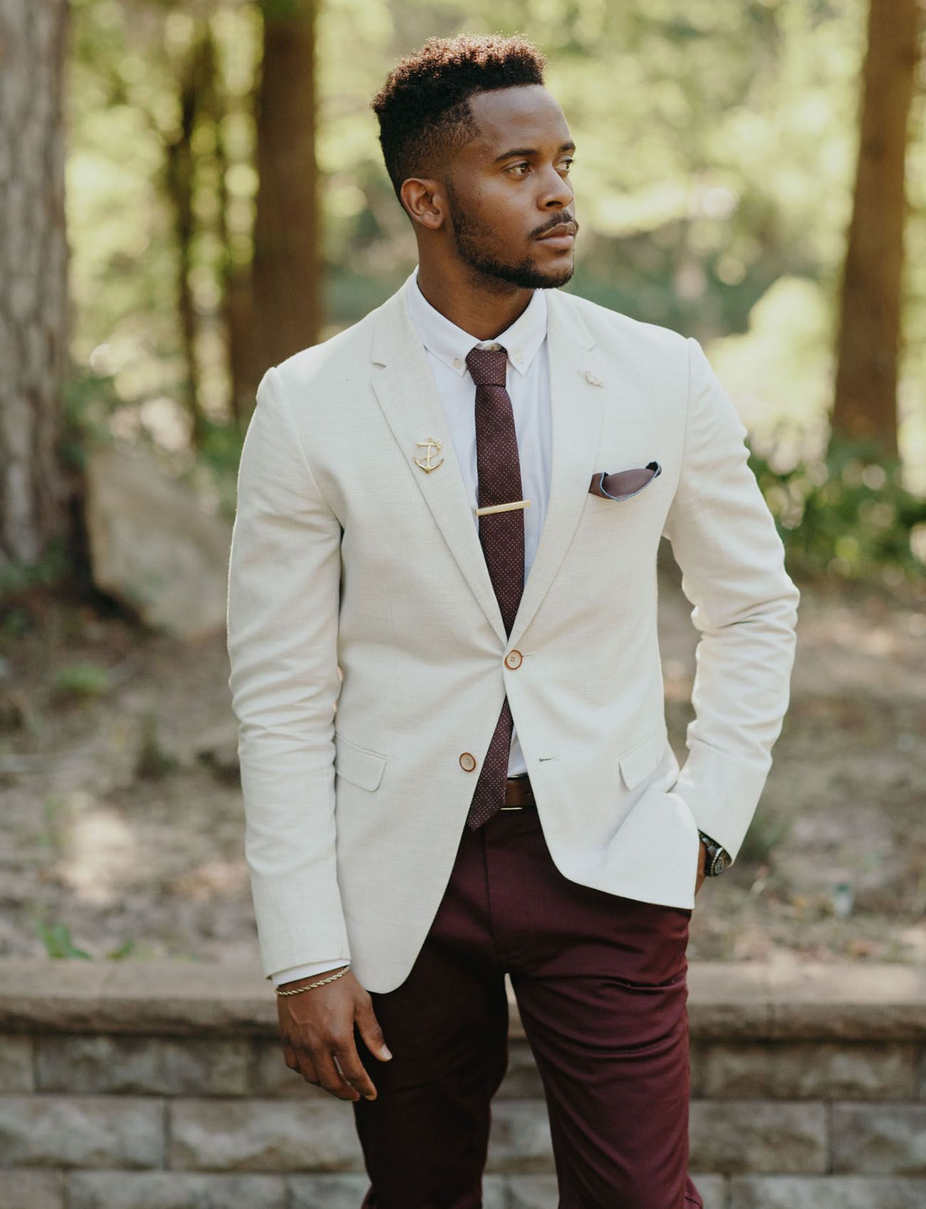 Groom in a cream jacket and burgundy pants for the groom for Wedding dress shirts for groom