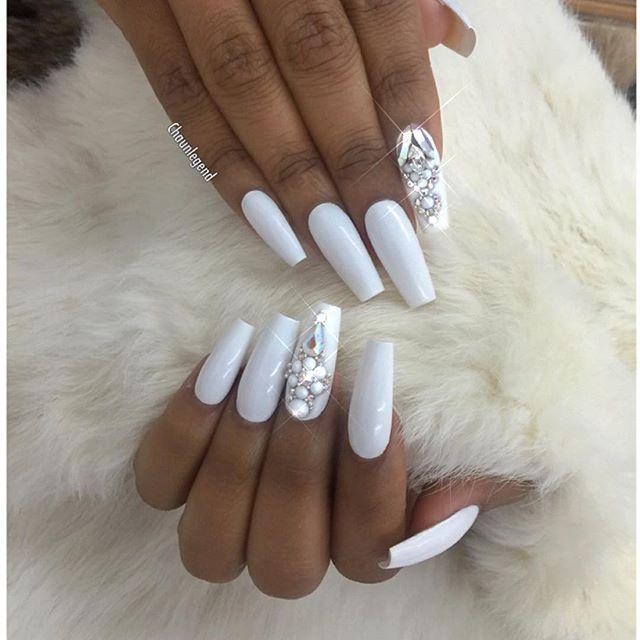 Instagram Photo By Chaun P Jul 3 2016 At 4 50am Utc White Acrylic Nails White Coffin Nails Rhinestone Nails