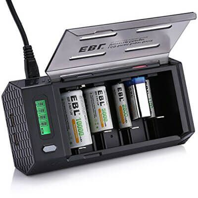 EBL Smart Battery Charger For C D 9V AA AAA Rechargeable Batteries