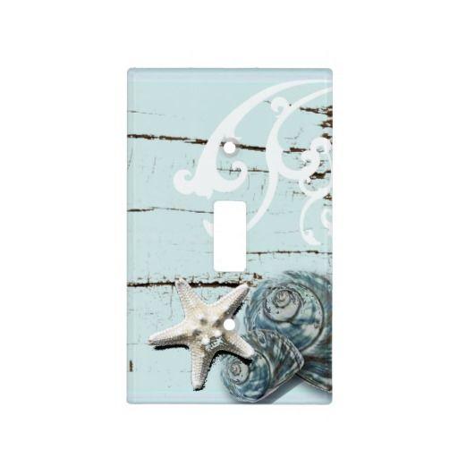 Romantic Elegant blue Seashell Beach decor Switch Plate Cover