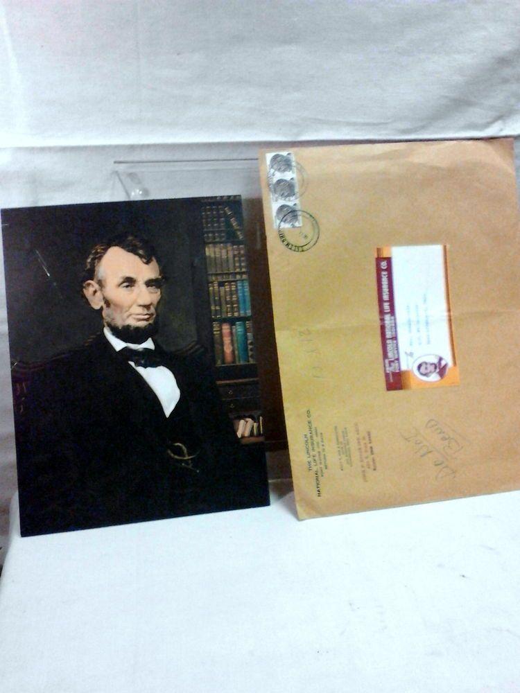 Vtg Lincoln National Life Insurance Co Abe Lincoln Poster Premium