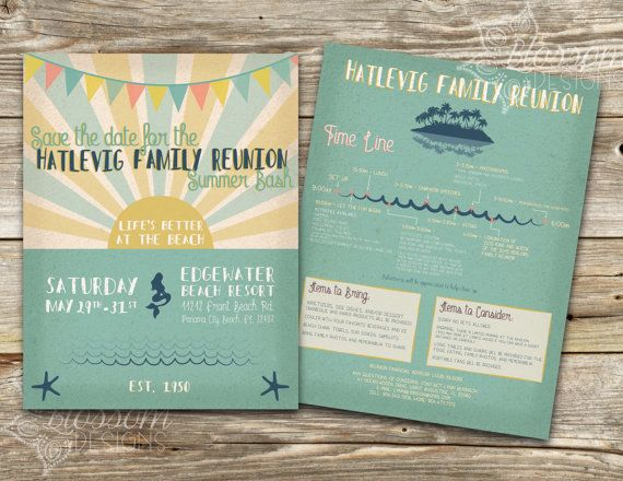 Beach Invitation Family Reunion Flyer by ShopBlossomDesigns - family reunion flyer