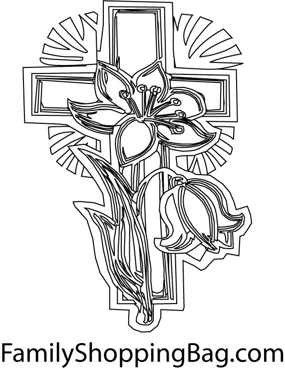 Spring Flowers On A Cross Easter Christian Themed Coloring