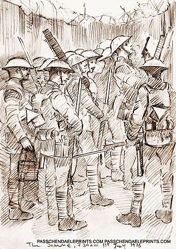 SOMME 7.30 AM 1ST JULY 'WAITING FOR THE WHISTLE' WW1