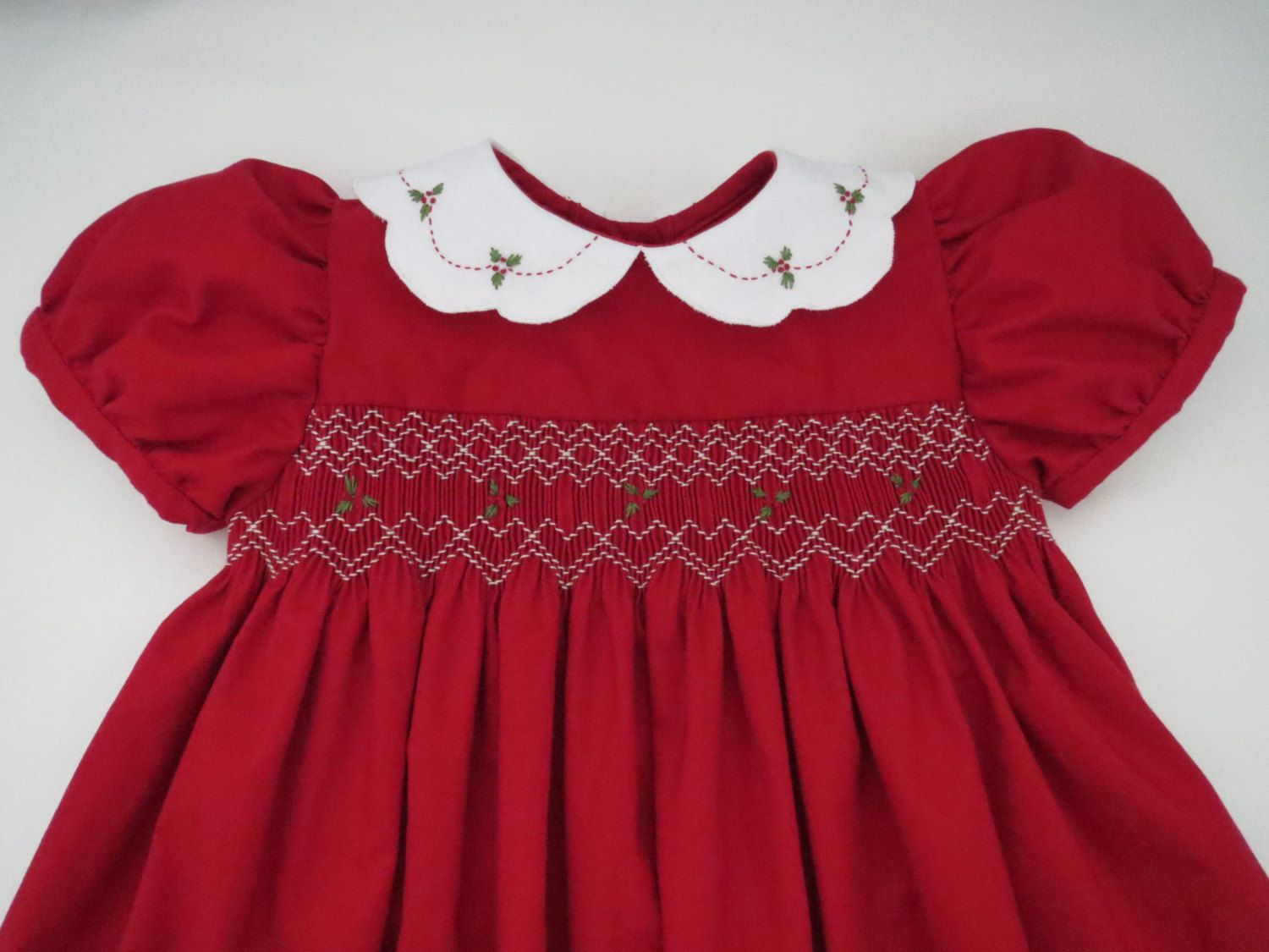 b90635421bb1 Adorable Red and White Christmas Dress for Baby Girl. Hand Smocked ...