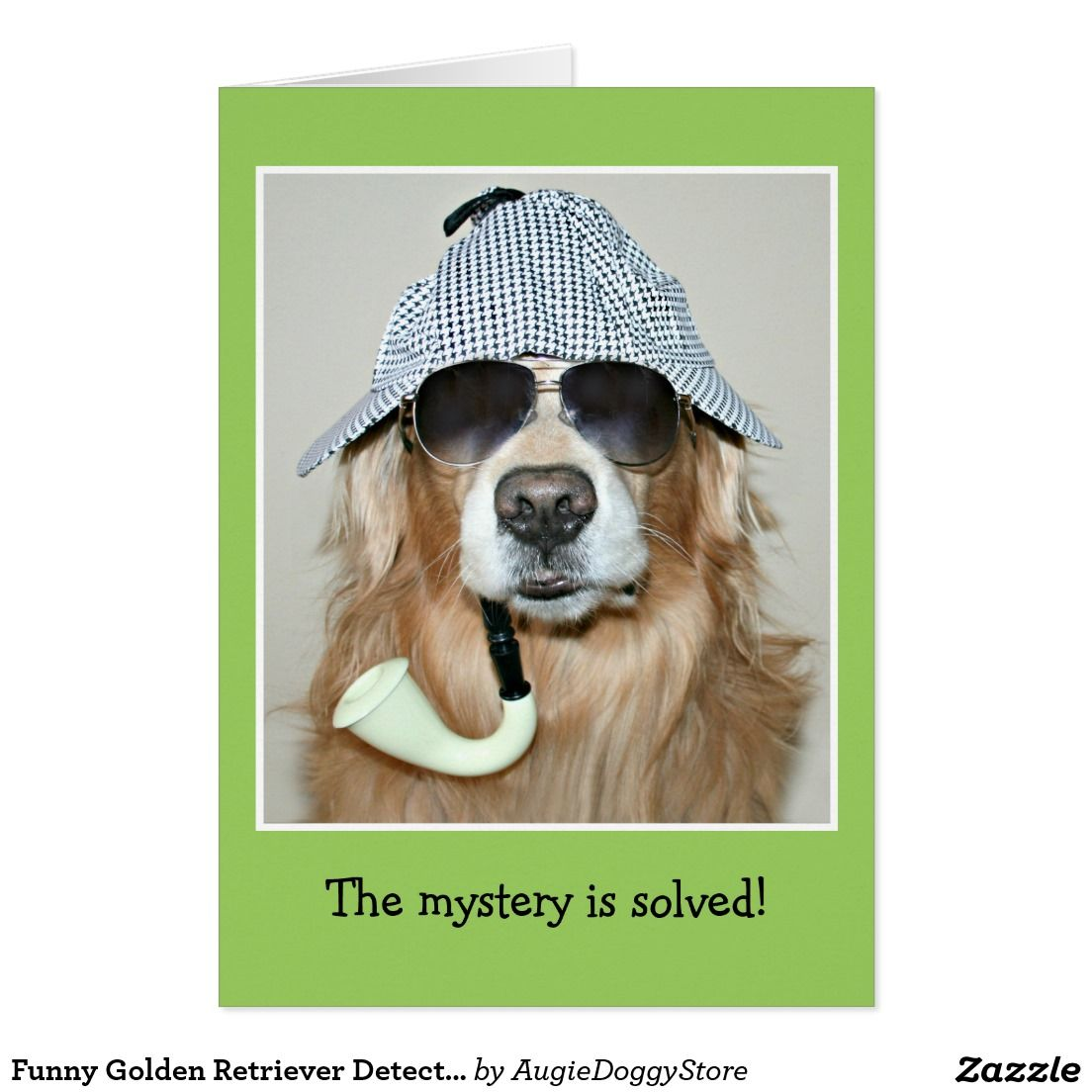 Funny Golden Retriever Detective Dog Birthday Card By AugieDoggyStore Sherlockholmes