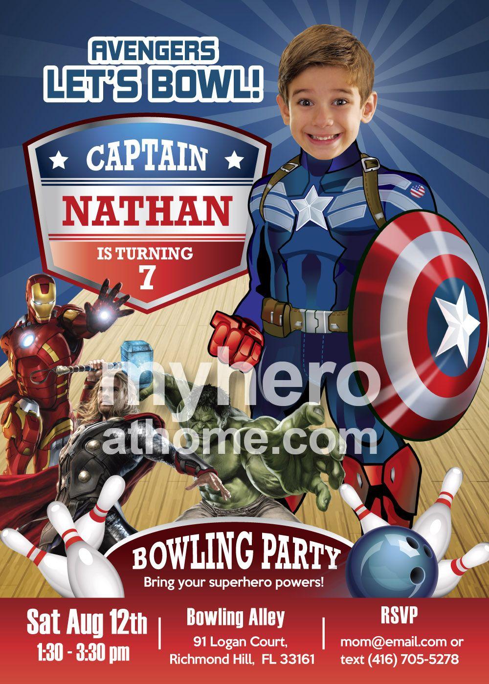 Bowling Party Captain America Birthday Invitation Captain America
