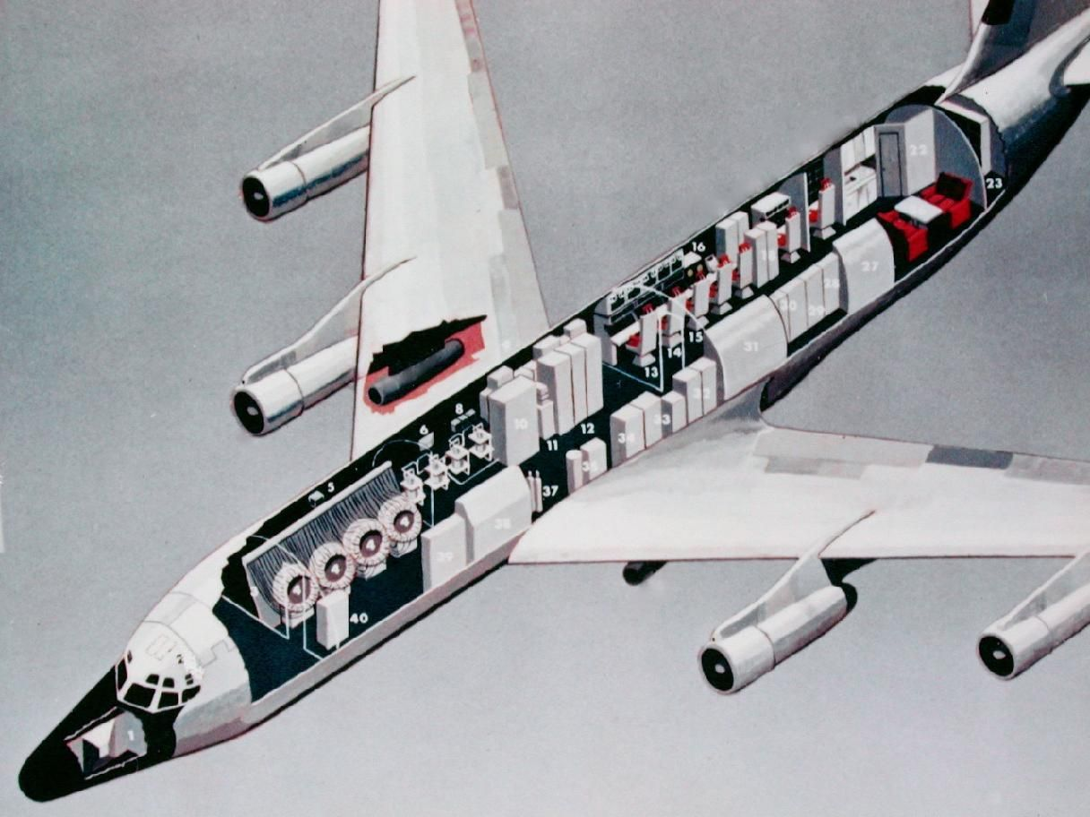 Rc135 X Ray View Of Rivet Amber Showing Her Crew Positions And Seven Megawatt Phased Array Radar Reconnaissance Aircraft Used Aircraft Technical Illustration