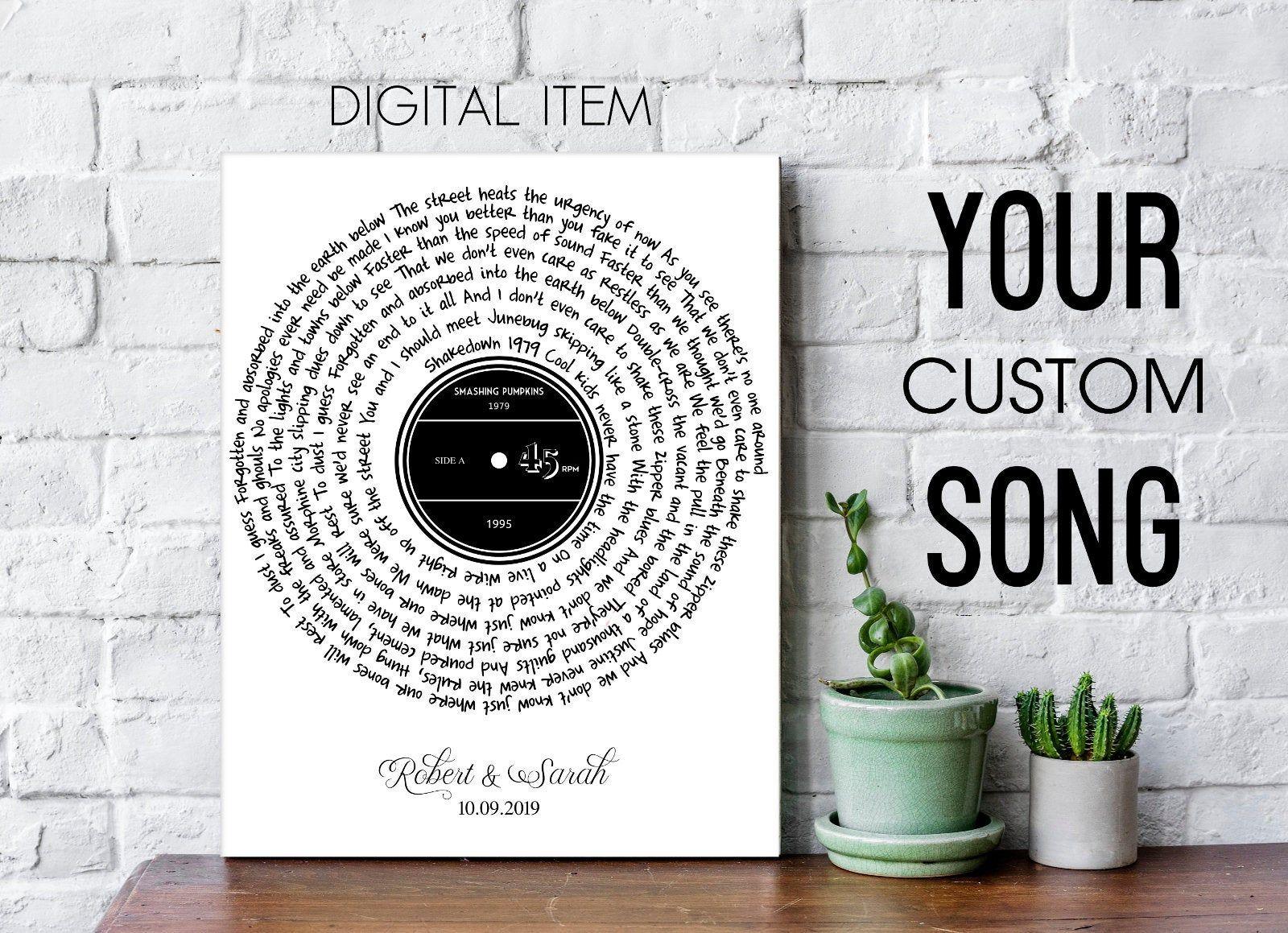 Custom Song Lyrics Spiral Song Lyrics Custom Song Lyrics Etsy Song Lyrics Art Song Lyric Posters Song Lyric Print