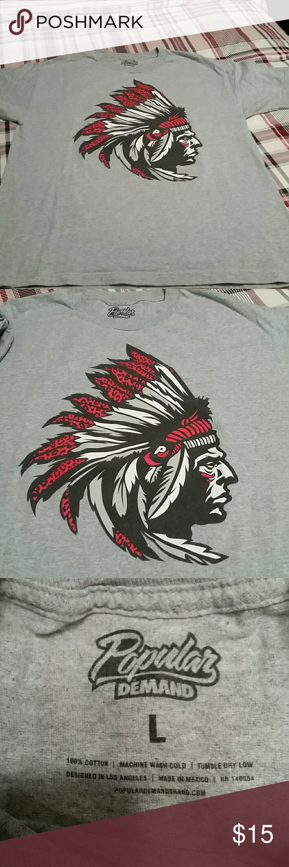Popular Demand Graphic t Grey, Indian chief graphic t by Popular Demand. Designed in L.A. Size L. Perfect condition. Popular Demand  Shirts Tees - Short Sleeve