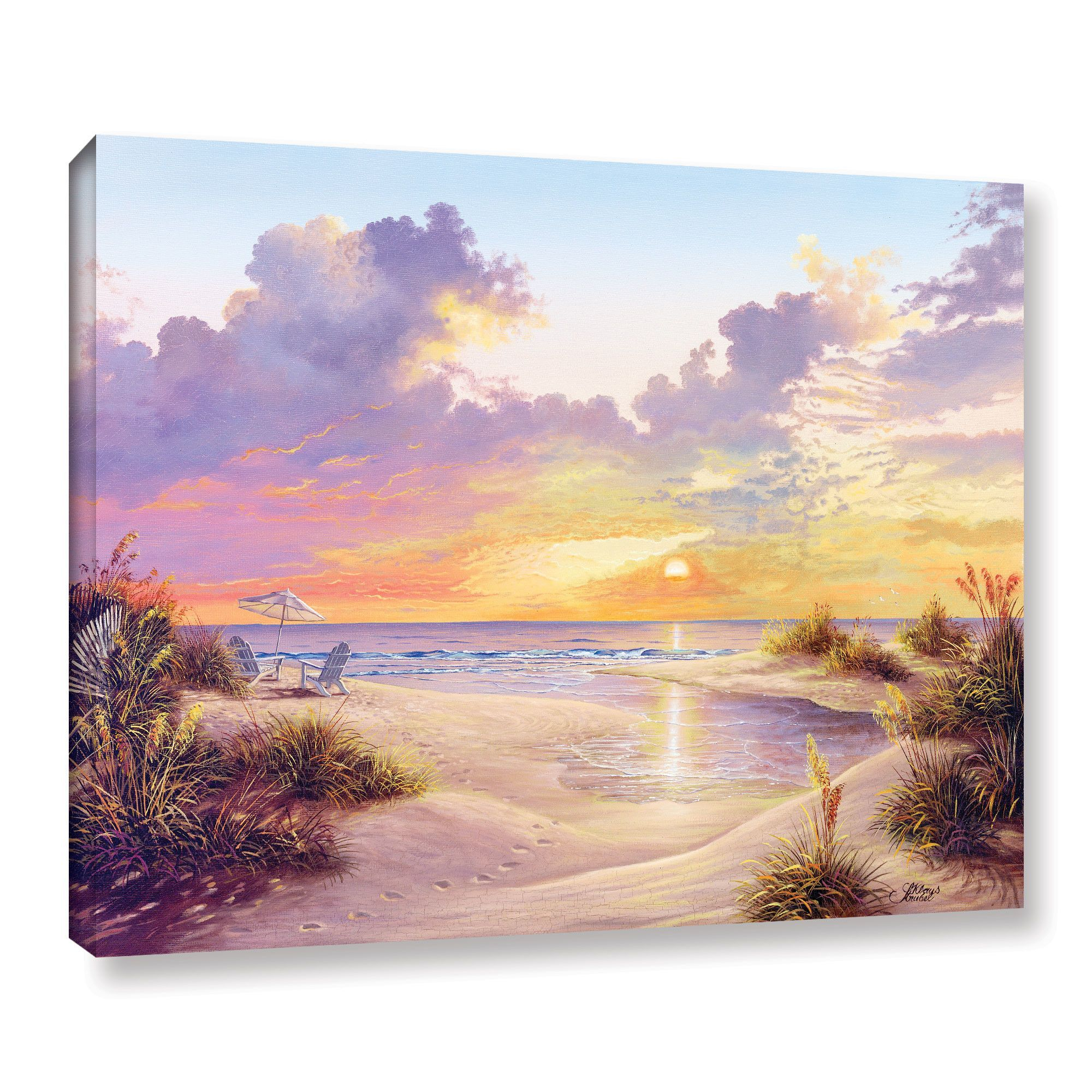 Paradise Sunset Painting Print on Wrapped Canvas