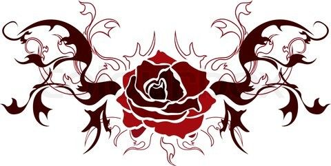 rose stencil   Stock vector of 'Rose tattoo illustration for web. stencil'