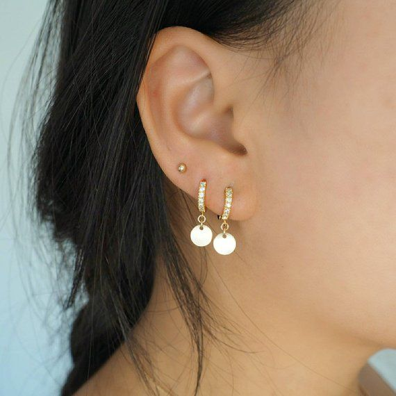 317f11fc2a653 14k Gold Plated with CZ Diamonds & Coin Charm Mini Hoop Earrings in ...