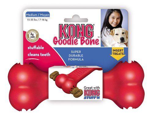 KONG Goodie Bone Dog Toy, Medium, Red - http://www.thepuppy.org/kong-goodie-bone-dog-toy-medium-red/