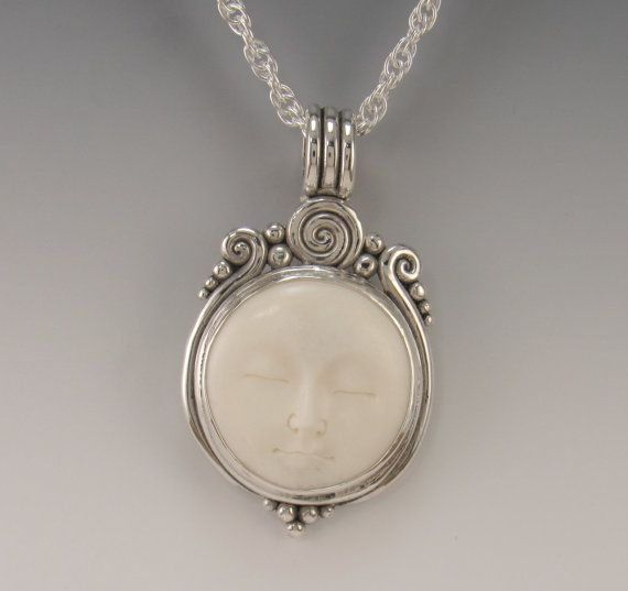 Sterling Silver Bone Face Pendant One of a by DenimAndDiaJewelry