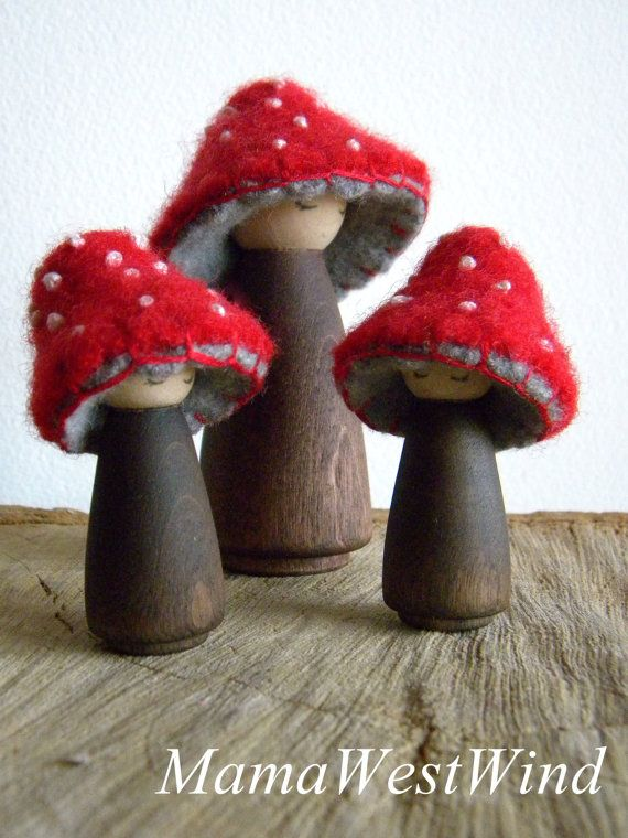 Waldorf Toadstool Dolls, Toadstool peg dolls, Waldorf Decor, Toadstool Toys, red, brown, gray, white, eco toy #dollhats