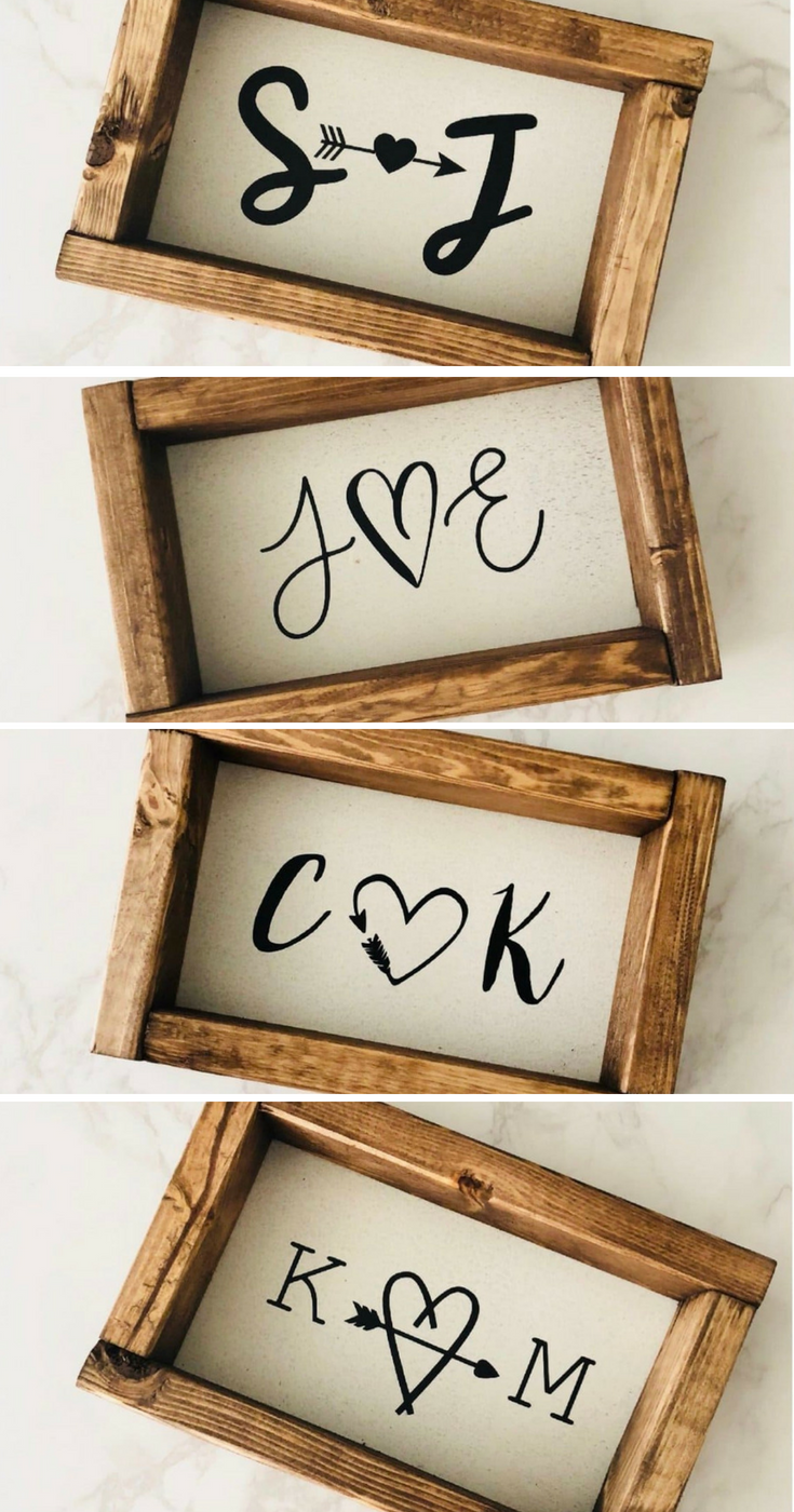 Personalized Heart Wood Signs Wood Sign Wedding Decor Bridal Gift Custom Gift Farmhouse Decor Farmhouse Styl Diy Wood Signs Diy Rustic Decor Rustic Signs