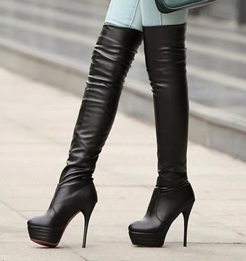 waterproof super high heels knee-high boots
