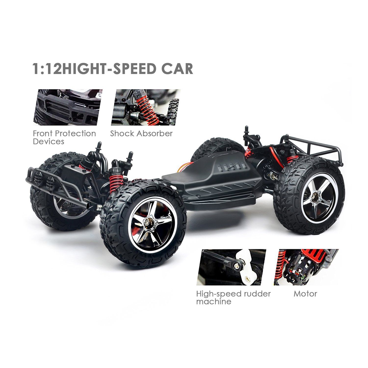Amzdeal RC Car Off Road 1/12 Scale 35Km/h High Speed 50M