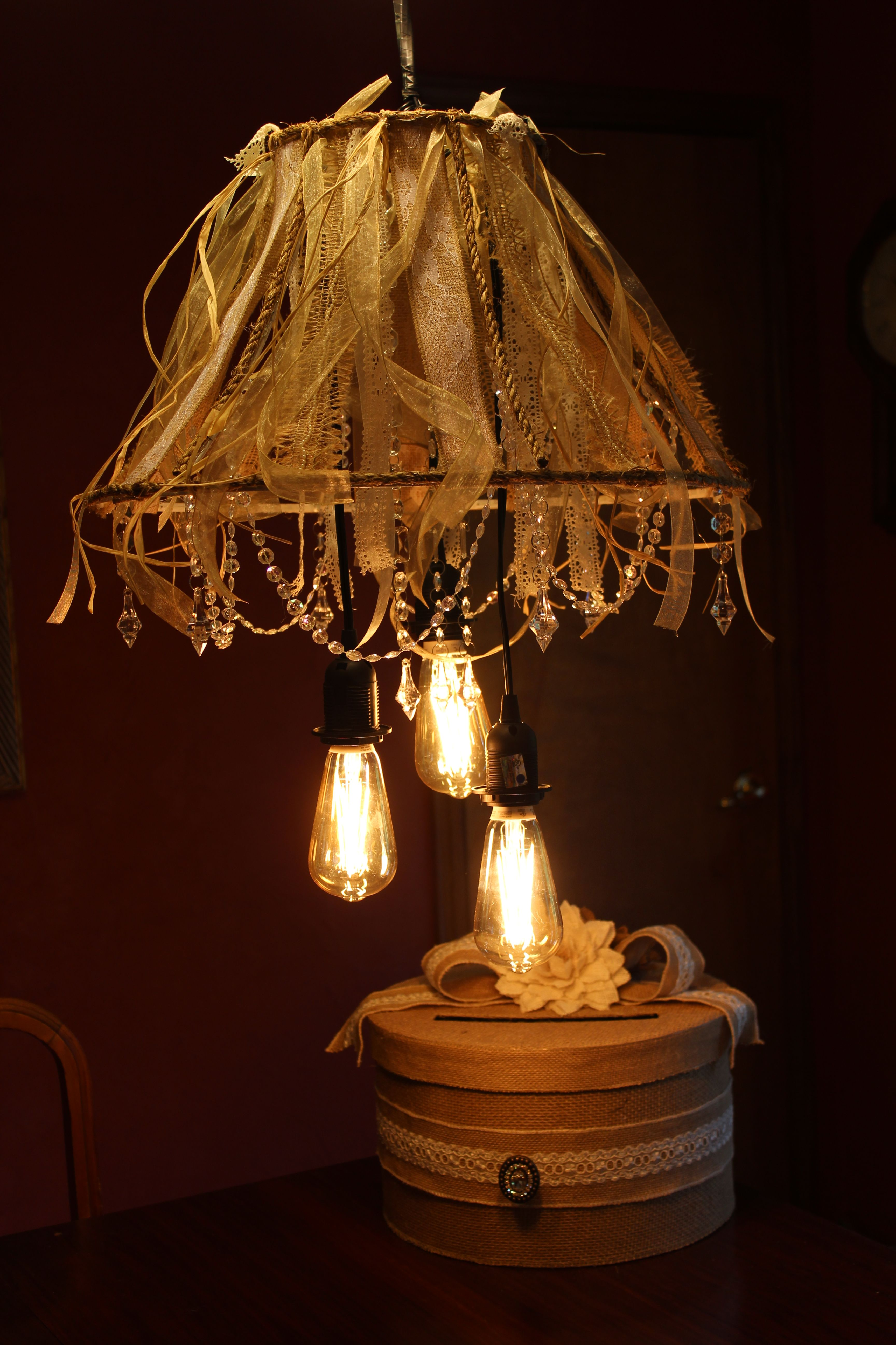 DIY lamp shade shabby chic/rustic chandelier Rustic
