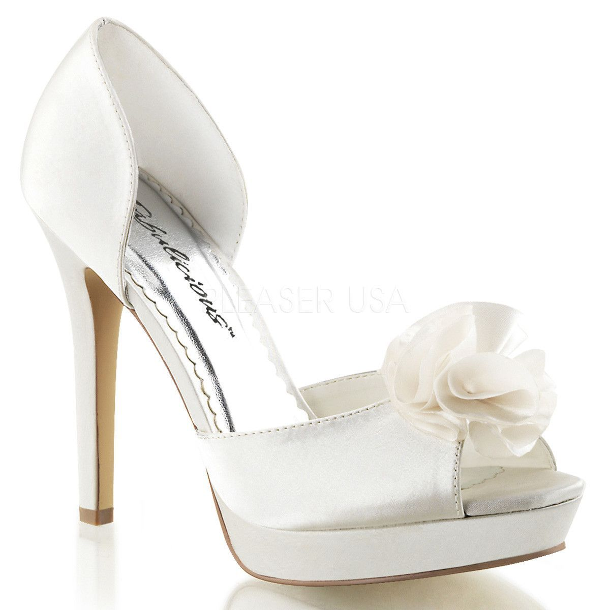 FABULICIOUS 34 LUMINA 34 FABULICIOUS Ivory Satin Peep Toe Pumps   beautiful lady's ... 6e2d42