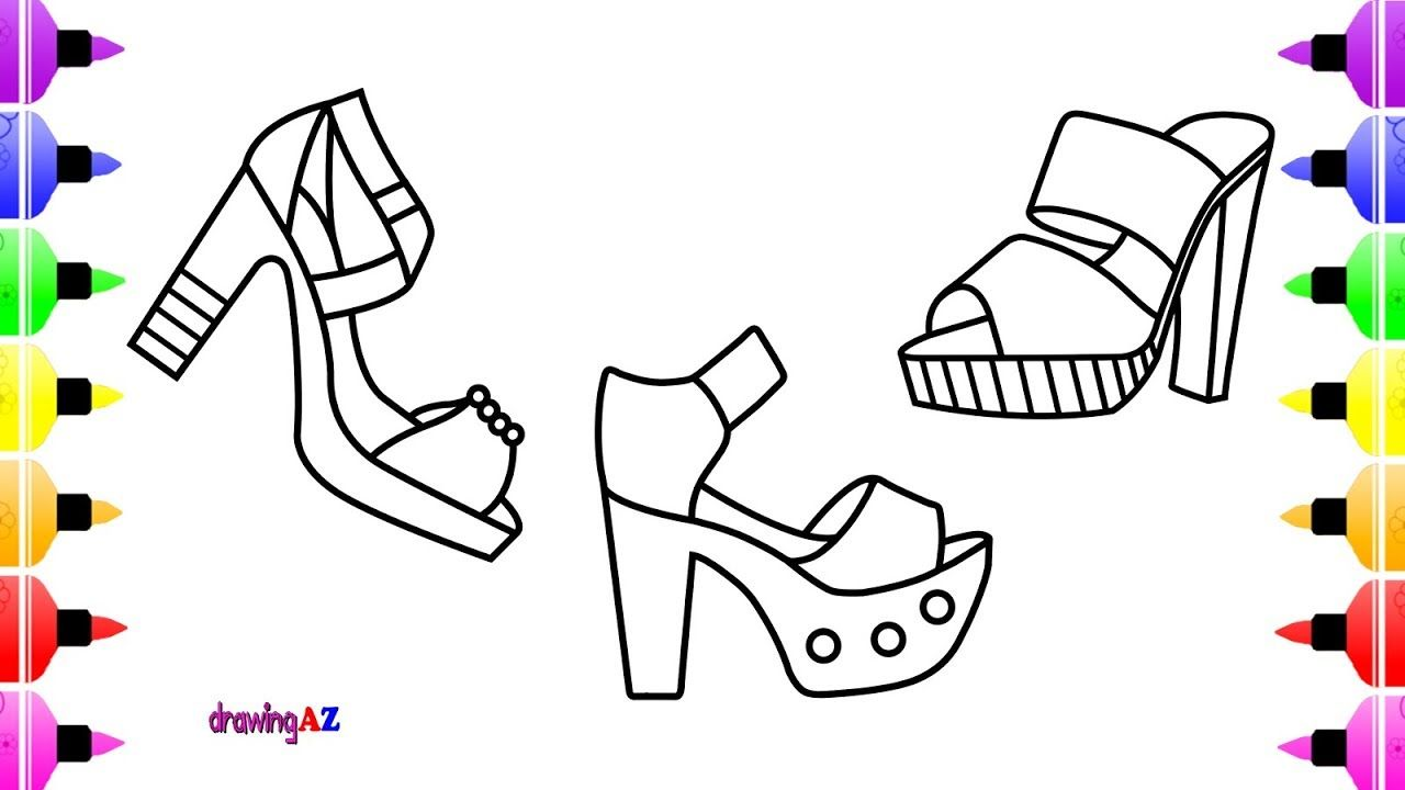 How To Draw High Heels Sandals So Cute For Girls Coloring Page